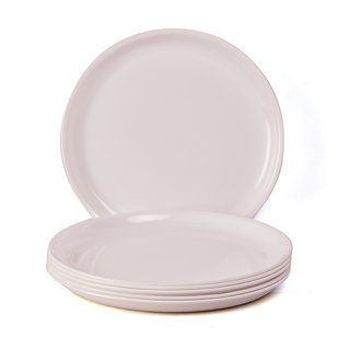 Incrizma Plastic Round 6 Pc Dinner Plates White  6 pc Bowls White - Pack of 12