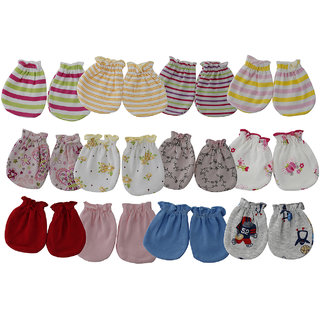 Aarushi Born Baby Soft Cotton Multicolor Mittens Set of 12 Pairs