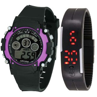 Crude Smart Combo Of Digital Watch-rg591 With Adjustable Pu Strap for Kid's