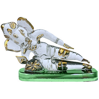 Shop Golden Polished Lord Sleeping Ganesh In Glass
