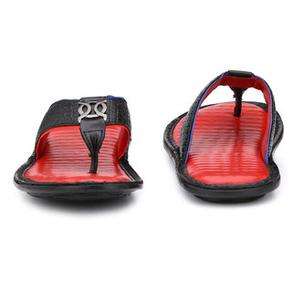 Peponi Men'S Exquisite Black And Red Leather Slippers