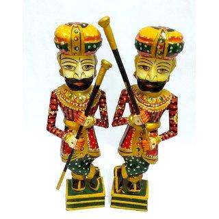SAARTHI Wooden Rajasthani Decorative Ethnic Handicraft Traditional  Chowkidar/Dwarpal/Watchman/Gatekeeper/Royal Guard/F