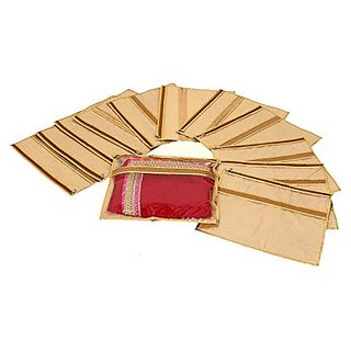 Kuber Industries trade; Single Packing Designer Saree Cover Set of 12 Pcs  Jute Design