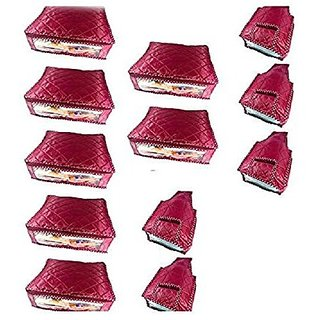 Kuber Industries Saree Cover Set of 7 Pcs  amp; Blouse Cover 5 Pcs Set   Total 12 Pcs Set  Parachute Material