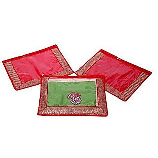 Kuber Industries trade; Single Packing Saree Cover Set Of 3 Pcs  Designer Lace  Red