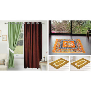 Azaani Beautiful Solid Set Of  2 Polyester Door Curtains With One Jute Seating Mat & Two Non Woven Bath Mat ,AZ2SOLIDCURTAIN1ORANGESITTINGMAT2BATHMAT-118