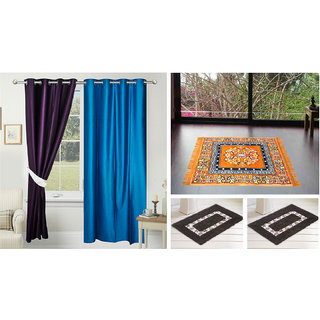 Azaani Beautiful Solid Set Of  2 Polyester Door Curtains With One Jute Seating Mat & Two Non Woven Bath Mat ,AZ2SOLIDCURTAIN1ORANGESITTINGMAT2BATHMAT-217