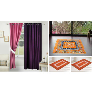 Azaani Beautiful Solid Set Of  2 Polyester Door Curtains With One Jute Seating Mat & Two Non Woven Bath Mat ,AZ2SOLIDCURTAIN1ORANGESITTINGMAT2BATHMAT-222