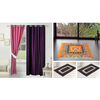 Azaani Beautiful Solid Set Of  2 Polyester Door Curtains With One Jute Seating Mat & Two Non Woven Bath Mat ,AZ2SOLIDCURTAIN1ORANGESITTINGMAT2BATHMAT-223