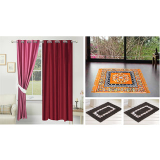 Azaani Beautiful Solid Set Of  2 Polyester Door Curtains With One Jute Seating Mat & Two Non Woven Bath Mat ,AZ2SOLIDCURTAIN1ORANGESITTINGMAT2BATHMAT-229