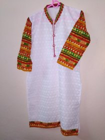 Traditional white top with fully thread work