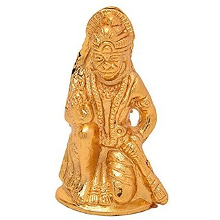 White Metal With Yellow Plating Handmade Hanuman By Bharat Haat BH05230