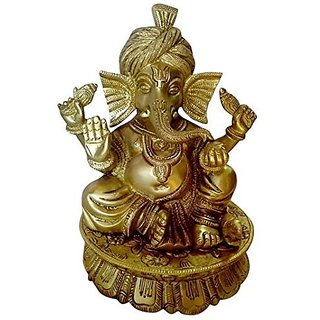Pure Yellow Brass Metal Beautiful Statue Of Ganesh With Traditional (Paghdi )Turban Design By Bharat Haat BH00013