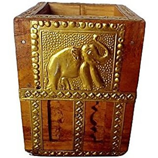 Handicraft Decorative Collectible Art Fine Wooden Pen Stand With Design Elephant By Bharat Haat BH00054
