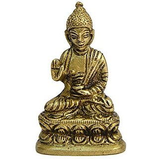 Brass Metal Religious Statue Of God Buddha Small In Size In L Fine Finishing By Bharat Haat BH00556