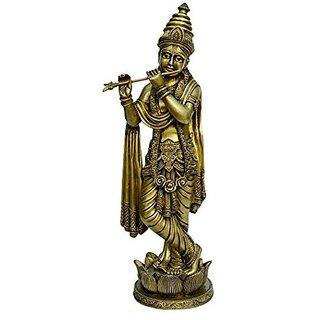 Brass Metal Kamal Bajath Lord Statue Of Krishna Fine Finishing Carving Work By Bharat Haat BH00790