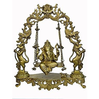 Brass Metal Unique Brass Big In Size Ganesh Jula Big Fine Finishing Carving Work By Bharat Haat BH00795