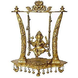 Beautiful Traditional Look And Brass Material Statue Of Ganesha Ji Sitting On A Jhula( Swing) Carving In Fine Brass Metal By Bharat Haat BH00017