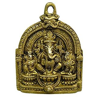 Pure Brass Metal Ganesh With Ridhi Siddhi Plate In Fine Finishing And Decorative Art By Bharat Haat BH03853