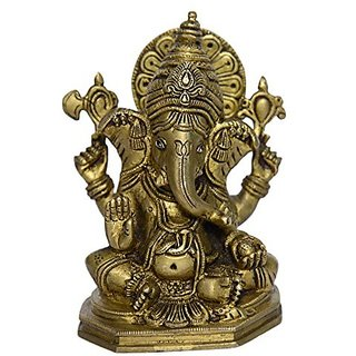 Bharat Haat Lord Statue Of Ganesh Sitting Fine Fine Finishing Carving Work BH00890