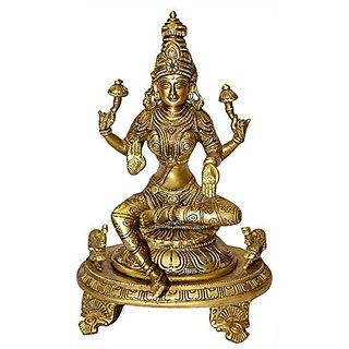 Artistic Statue Of Religious Goddess Laxmi Devi In Fine Finishing In Brass Metal By Bharat Haat BH00036