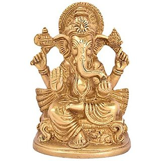 Pure Brass Metal Ganesh In Fine Finishing Decorative Indian Art By Bharat Haat BH04986