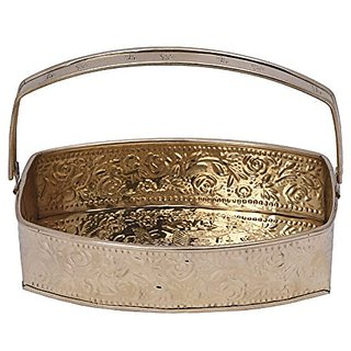 Handicraft Swastik Embossed Oval Rectangular Brass Shiny Single Handle Pooja Basket By Bharat Haat BH05565