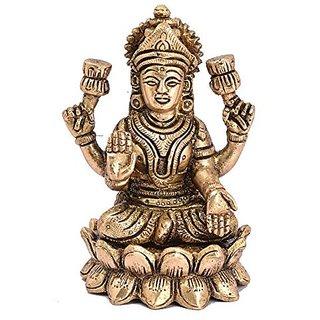Pure Brass Metal Laxmi Sitting On Kamal In Decorative Art By Bharat Haat BH04996