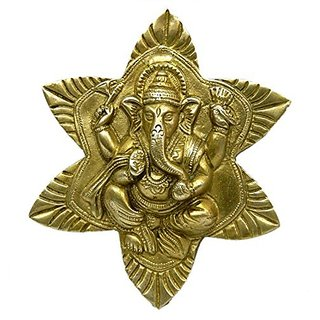 Pure Brass Metal Ganesh In Star Shape Wall Hanging In Fine Finishing And Decorative Art By Bharat Haat BH03858
