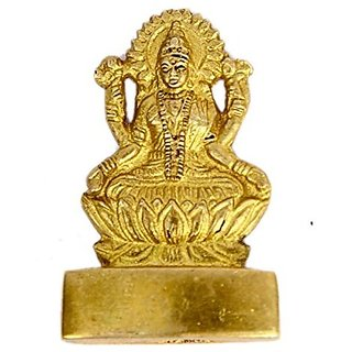 Brass Hinduism Lord Statue Laxmi Devi Small In Fine Carving Work India By Bharat Haat BH00609