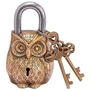 Owl Lock Vintage Look With Two Key And Decorative Use For Home, Office,Collection,Gift,Decorative Art By Bharat Haat BH05082