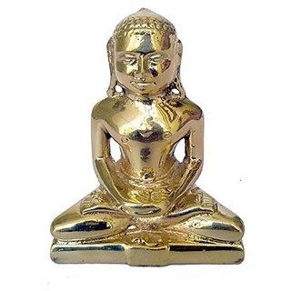 Pure Brass Metal Mahaveer Sitting Statue By Bharat Haat BH04871