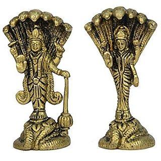 Brass Metal Vishnu Laxmi Standing On Shesnag Small Pair Fine Carving Art By Bharat Haat BH00729