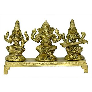 Beautiful Brass Metal God Ganesh ,Godess Laxmi ( Godess Of Wealth And Prosperity ) And Godess Saraswati ( Godess Of Knowledge) Brass Handicraft India Art By Bharat Haat BH03520