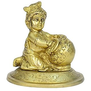Beautiful Brass Metal In Shir Bal Krishna With Butter Pot ( Makhan Matki ) In Fine Finishing Art India By Bharat Haat BH00710