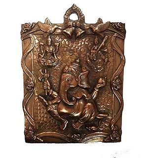 Pure Black Metal Ganesh Wall Hanging In Decorative Art By Bharat Haat BH04614