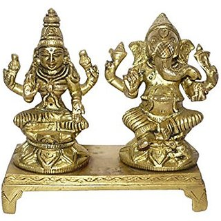 Brass Metal God Ganesh ,Godess Laxmi Sitting In Blessing Position Collectible Statue By Bharat Haat BH01426