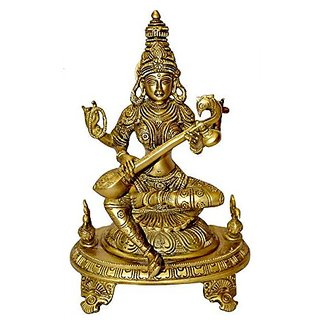 Religious Statue Of Saraswati Devi Playing Veena With Four Hands In Brass Metal By Bharat Haat BH00037