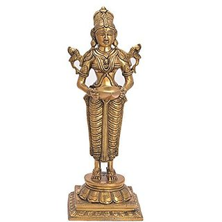 Decorative Handicraft Indian Standing Lady Brass Traditional Oil Lamp By Bharat Haat BH05602