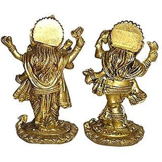 Brass Metal Musical Ganesha Set (2 Pieces) Medium Size Statue By Bharat Haat BH01412