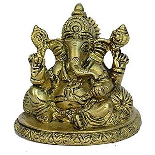 Brass Metal Ganesh Seated And Rising With A Takia In Decorative Fine Art Work By Bharat Haat BH00822