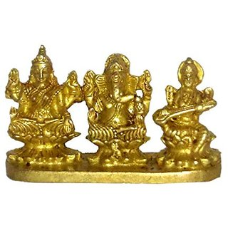 Brass Metal Statue Of Ganesh ,Godess Laxmi & Saraswati Sitting On Bajath In Blessing Position By Bharat Haat BH01342