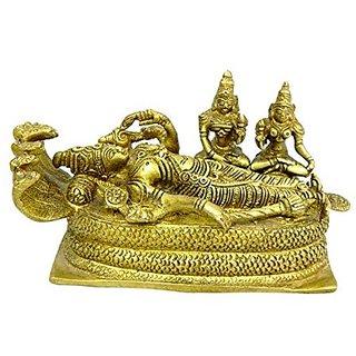 Pure Brass Metal Sleeping Vishnu In Fine Finishing And Decorative Art By Bharat Haat BH04138