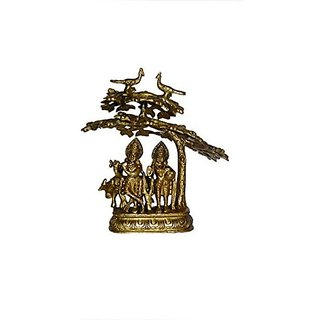 Hand Brass Metal Statue Of God Radha Krishna With Tree Small With Cow By Bharat Haat BH01187