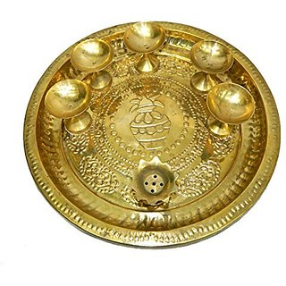 Pure Brass Metal Puja Thali Medium In Fine Finishing Handicraft And Decorative Art By Bharat Haat BH04431