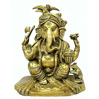 Pure Brass Metal Paghdi ( Turban ) Ganesh In Fine Finishing And Decorative Art By Bharat Haat BH03877