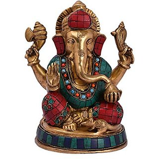 Lord Ganesh Pure Brass Metal Materials Super Beautiful Look, Home, Office Gift Item, With Decorative And Decorative Item BH05054