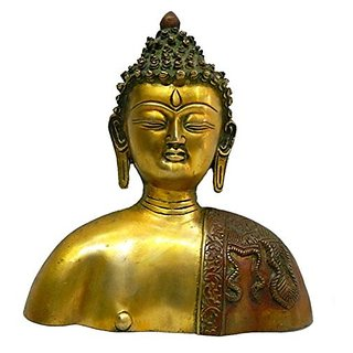 Pure Brass Metal Buddha Face Wall Hanging In Fine Finishing And Decorative Art By Bharat Haat BH03850