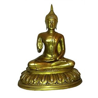 Brass Metal Gautama Buddha Medium Statue Sitting By Bharat Haat BH01367