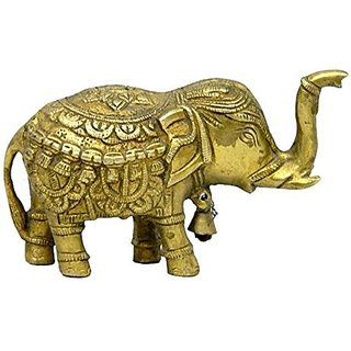 Pure Brass Metal Elephant In Fine Finishing And Decorative Art By Bharat Haat BH03938